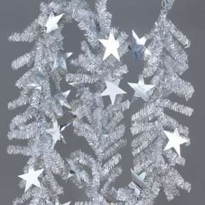 Pack of 6 Silver Artificial Tinsel Christmas Garland with