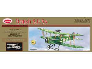 GUILLOWS BRITISH S.E. 5A WORLD WAR 1 FIGHTER PLANE BALSA WOOD MODEL