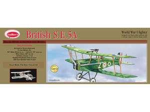 GUILLOWS BRIISH S.E. 5A WORLD WAR 1 FIGHER PLANE BALSA WOOD MODEL