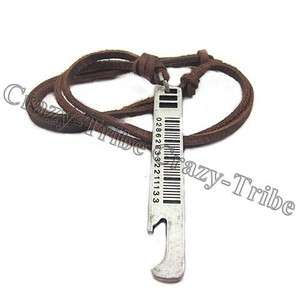 boys charm choker Bottle Opener pendant Genuine leather necklace cool