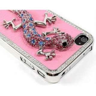 New Luxury Pink Rhinestone Bling Czech 3D Lizard case for Apple iPhone