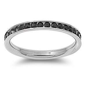 Stainless Steel Eternity Black Cz Wedding Band Ring 3mm (3,4,5,6,7,8,9