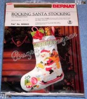Bernat ROCKING HORSE SANTA Counted Cross Stitch Christmas Stocking Kit