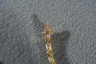 SILVER GOLD 22 RECTANGLE 44 ROUND WHITE TOPAZ TENNIS BRACELET