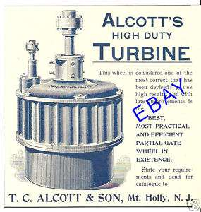 1894 ALCOTT GRIST MILL WATER TURBINE AD MT. HOLLY NJ