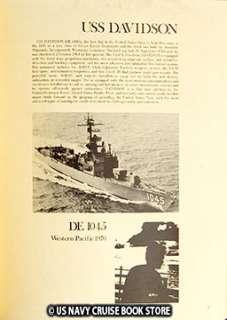 USS DAVIDSON DE 1045 WESTPAC VIETNAM CRUISE BOOK 1970
