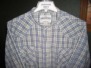 2XL 18.5 36/37 COTTON SNAP BUTTONS AEROPOSTALE BANDED COLLARLESS