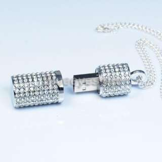 Crystals Lipstick Case Necklace Jewelry USB 2.0 Flash Memory Pen Drive