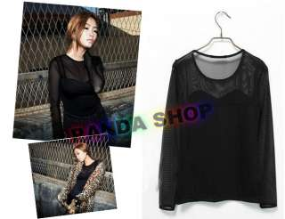 Neck Lady Girl Transparent Sleeve Top T Shirt Dress Club Soft