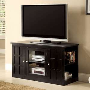 Solid Wood Black Finish Wood Entertainment TV Stand