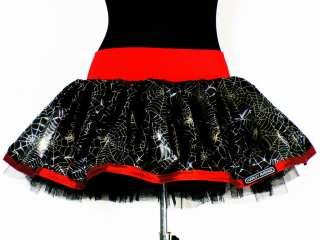 Halloween Tutu Mini Skirt Black Pink Silver Skull S M L