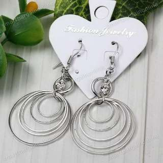 2pc Rhinestone Multiple Round Dangle Nickel Free Earring Jewelry Xmas