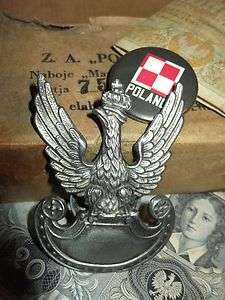 GREAT WW2 POLISH ARMY EAGLE with CROWN from FIELD CAP 1939 POLAND