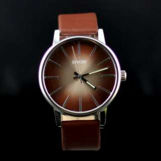 Trendy Colorful Dial SINOBI Mens Women Leather Brown Wrist Watch