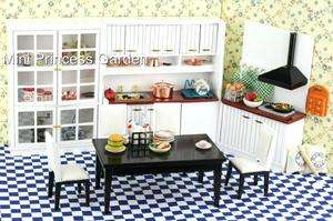 Dollhouse Kitchen Furniture Cabinet Table Chair Set