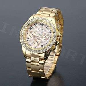 Bling White Crystal Golden Band Lady Girls Wrist Watch