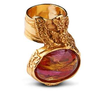 Arty gold plated oval ring   YVES SAINT LAURENT   Rings   Jewellery