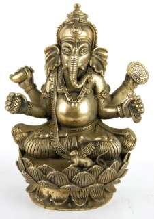 BRONZE GANESH STATUE Hindu God Elephant Deity India 6