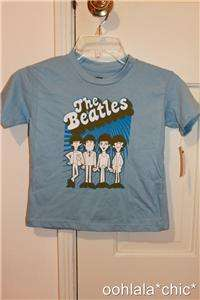 THE BEATLES Short Sleeved Baby Blue T Shirt Tee Top NWT