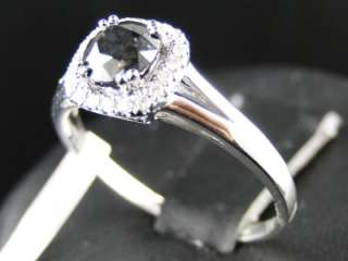 14K WHITE GOLD LADIES BLACK DIAMOND ENGAGEMENT ANNIVERSARY WEDDING