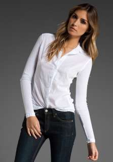 JAMES PERSE Contrast Long Sleeve Shirt in White