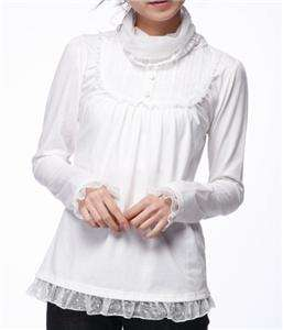 Sweet women cotton long sleeve lace trim pleated bodice Tee shirt