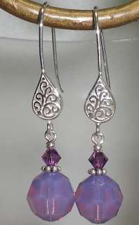 Berry Pink Opal Crystal Filigree Earrings Made Wi Swarovski Elements
