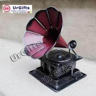 Tin Metal Art Bar Decor Model Phonograph Vinyl Record Player S