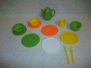 Vintage HONG KONG Plastic Toy Play Kitchen Dinnerware