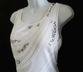 ANNE KLEIN New White Embellished Beaded Tank Top Shirt Womens Small $