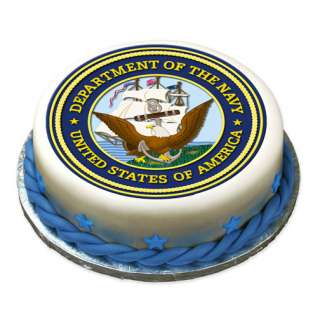 US NAVY Edible Cake Image Party Decoration Round Custum