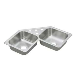 Steel 31 7/8 in. x 31 7/8 in. x 7 in 4 Hole Double Bowl Kitchen Sink