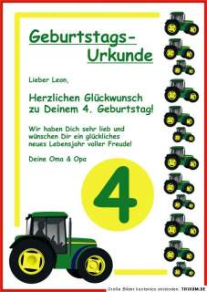 Geburtstags Urkunde Traktor Trecker Kindergeburtstag On Popscreen