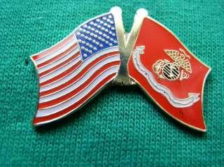 USMC MARINES FLYING PROUD AMERICAN FLAG LAPEL PIN