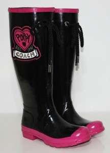 COACH POPPY BLACK & PINK HEARTS ROXANE RAIN BOOTS 5 NIB
