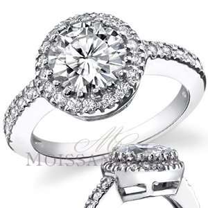 Multi Prong Halo Round Moissanite Engagement Ring 1.26ctw [eng657]