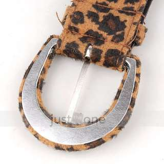 Fashion Cool Women Ladies Girls PU Leather Leopard Print Belt Buckle
