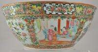 Antique 13 Chinese Rose Medallion Punch Bowl w Carved Wooden Stand