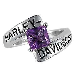 Harley Davidson Silver Crossroads Birthstone Ring   February Amethyst