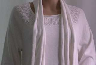 NWT Style&Co Pointelle Long White Tunic Sweater w/ Scarf & needlework