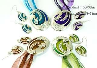 H767 Fashion Wedding Gemstone Flower Oval Necklace Pendant Earrings