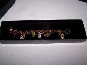 FRANKLIN MINT IRISH IRELAND STERLING ENAMEL CHARM BRACELET NIB