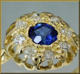 Antiker Saphir   Ring mit 8 Diamanten 0,2ct 750 Gold