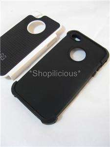 WHITE 3 LAYER HEAVY DUTY HYBRID SILICONE CASE+HARD SHELL COVER