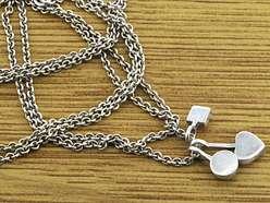 925 Sterling Silver Multi colored CZ Chain Necklace