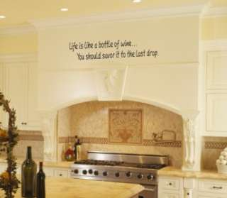 Life is Like A Bottle of Wine Vinyl Wall Word Art Lettering Stickers
