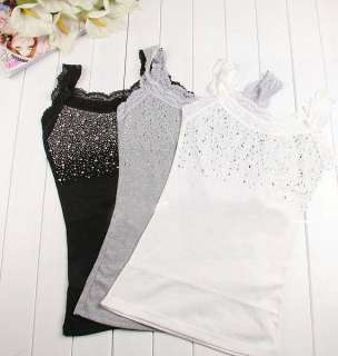 Womens Blouse Diamonds Lace Flounced Gallus Slim Corset Vest Top #6151
