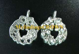 30 Pcs Tibetan Silver christmas wreath charms FC342