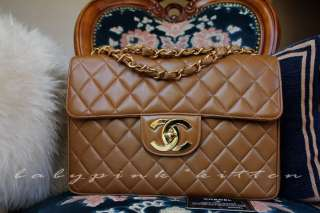 CHANEL TAN/ CARAMEL VINTAGE JUMBO CLASSIC FLAP BAG 2.55 GOLD HW