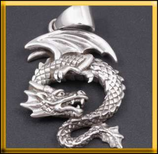 JAPANESE DRAGON 925 STERLING SILVER MENS PENDANT CHARM